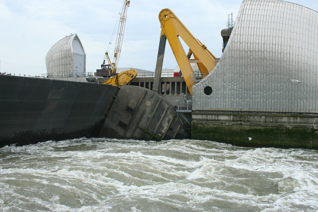 Thames Barrier Underspill At High Tide When The Barrier