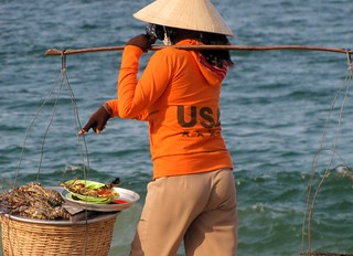 Nha Trang Beach - Woman Selling Lobsters ($5) - v8 | by FollowOurFootsteps