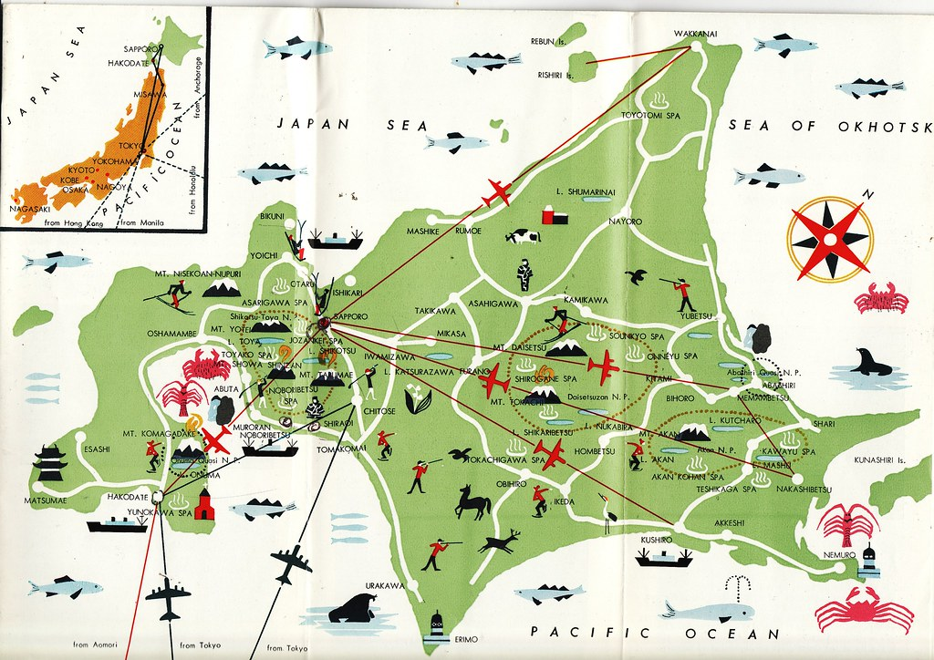 map of hokkaido circa 1960s published by the japan touris flickr