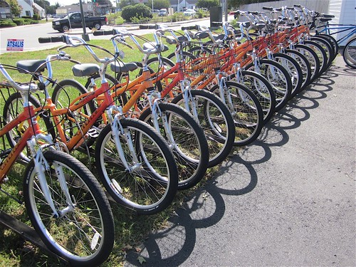 Bike Zone Cape Cod Row of Rental Bikes at the