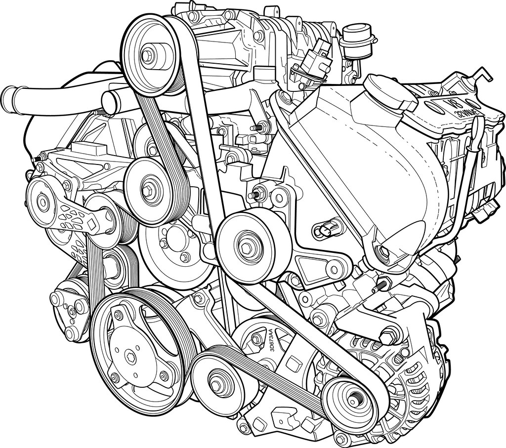 Supercharged V8 Line Render A Line Rendering Of A Ford