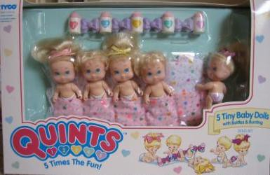 Tyco Quints 5 Tiny Baby Dolls With Bottles And Bunting Flickr