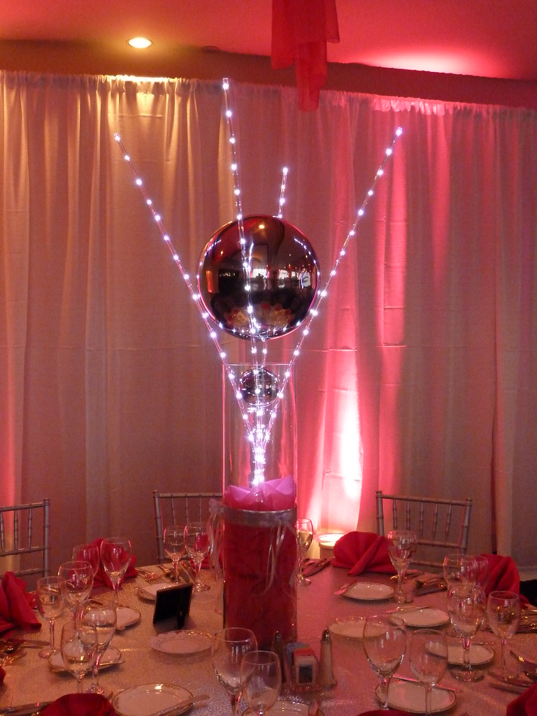 Custom Led Light Wand Centerpiece With Mirror Ball For A B
