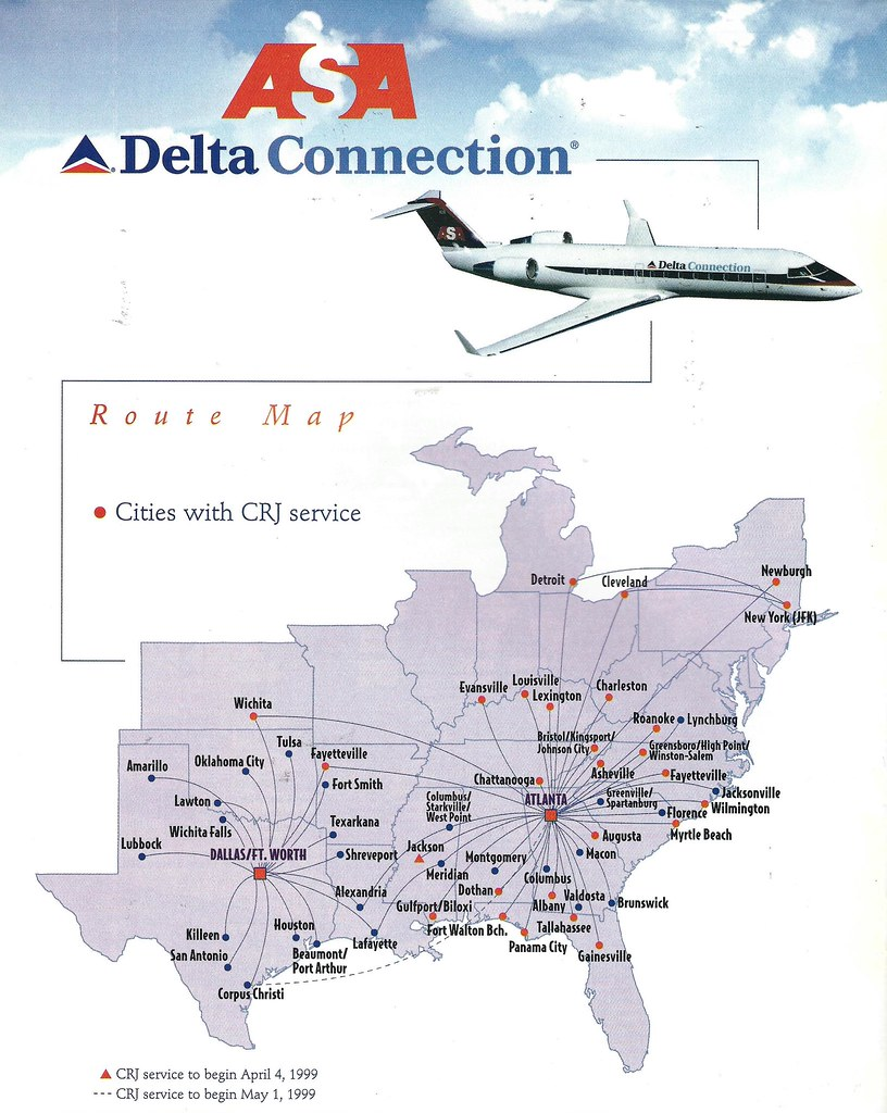 Delta Connection ASA route map, 1999 | The Delta Connection … | Flickr