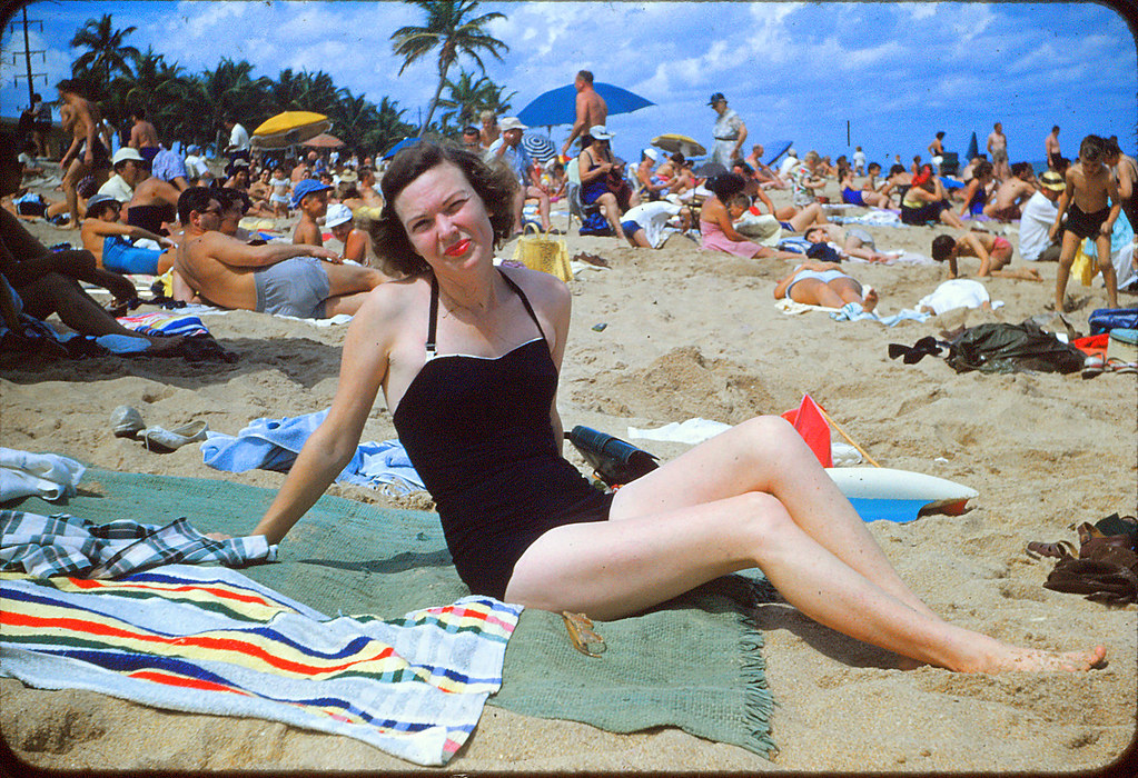 1955 - GRANDMA ON BEACH - Bakers Haulover Inlet, Miami 16