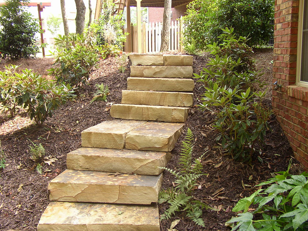 Tennessee flagstone stone stairs steps for Exterior stone stairs design