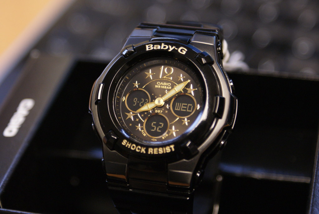 Casio baby g lcd black dial resin strap ladies watch bga 1 flickr for Black resin ladies watch