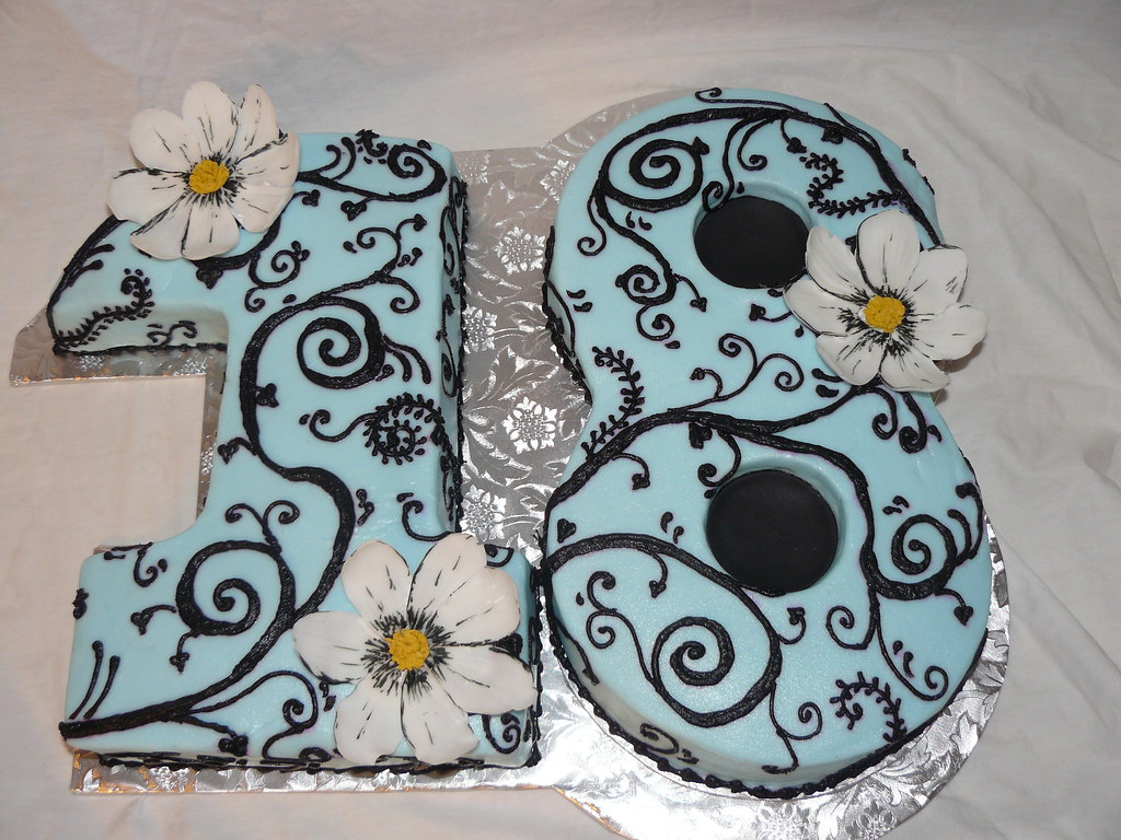 Cake Design Numbers : number cake Number 18...blue with black swirl and ...