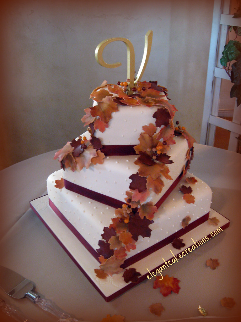 wedding cake autumn leaves autumn leaves wedding cake my large wedding for this 21764