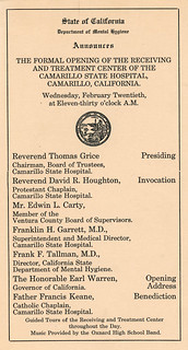 Annoucement of Formal Opening of Camarillo State Hospital | by California State University Channel Islands