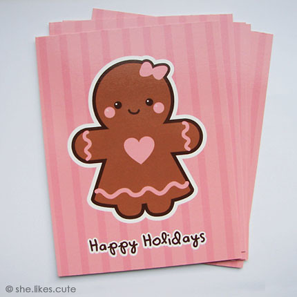 NEW! Gingerbread girl 'Happy Holidays' cards | by she.likes.cute