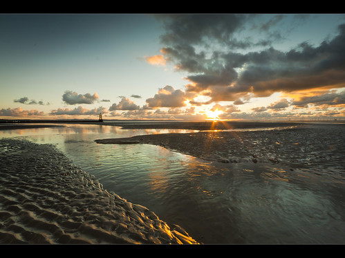 Bed of wonderful water, Sunset on Crosby beach, Explored! | by Ianmoran1970