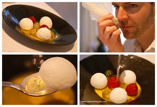 Floating profiteroles with gin-soup and frozen raspberries and cardamom at El Bulli | by yumcat