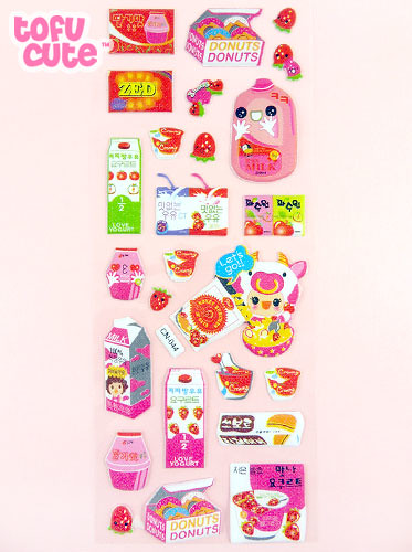 Large pink korean strawberry milk stickers by tofucute com