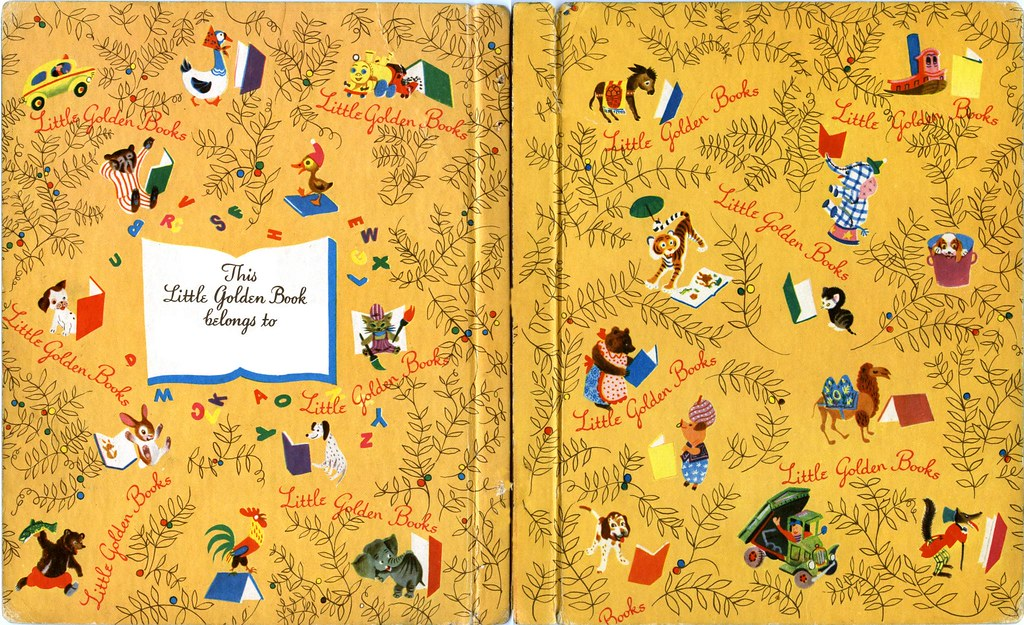 Kids Book Cover Background ~ Quot little golden books endpapers designer unknown