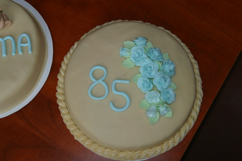 85th Birthday Cake Marzipan Covered Cake With Blue Fondant Flickr