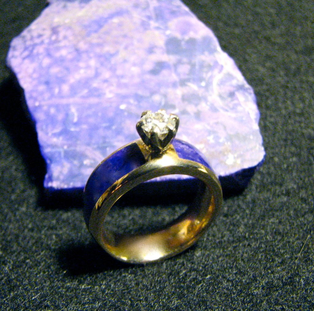 Gold Inlay Diamond Silver Wedding Ring Lovehave
