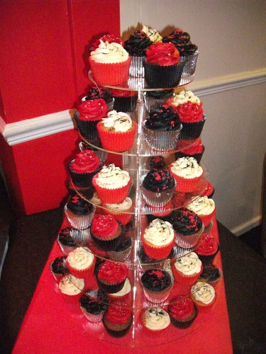Red Black Amp Silver Themed 40th Birthday Cupcakes Little