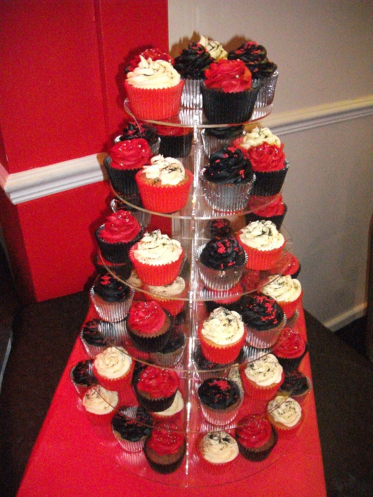 RedBlack Silver Themed 40th Birthday Cupcakes Little Charm