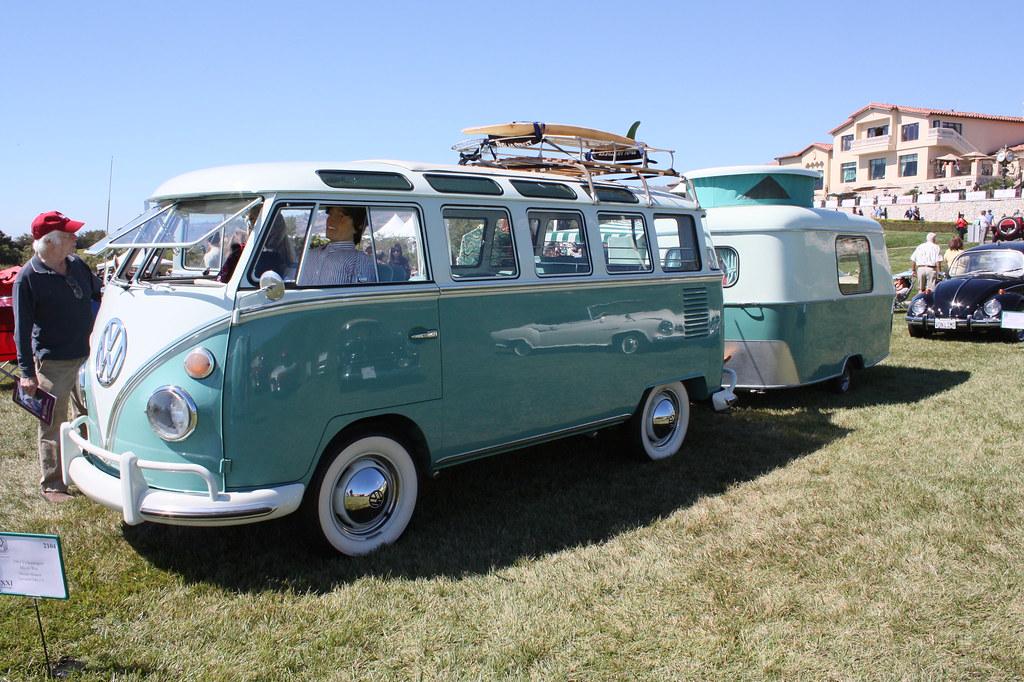 1963 vw 21 window micro bus eriba puck trailer steve for 18 window vw bus