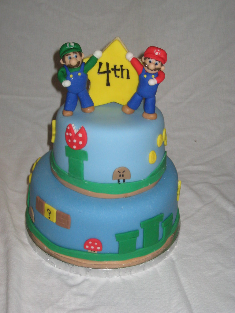 Super Mario Birthday Cake Tiered Cake With A Super Mario B Flickr