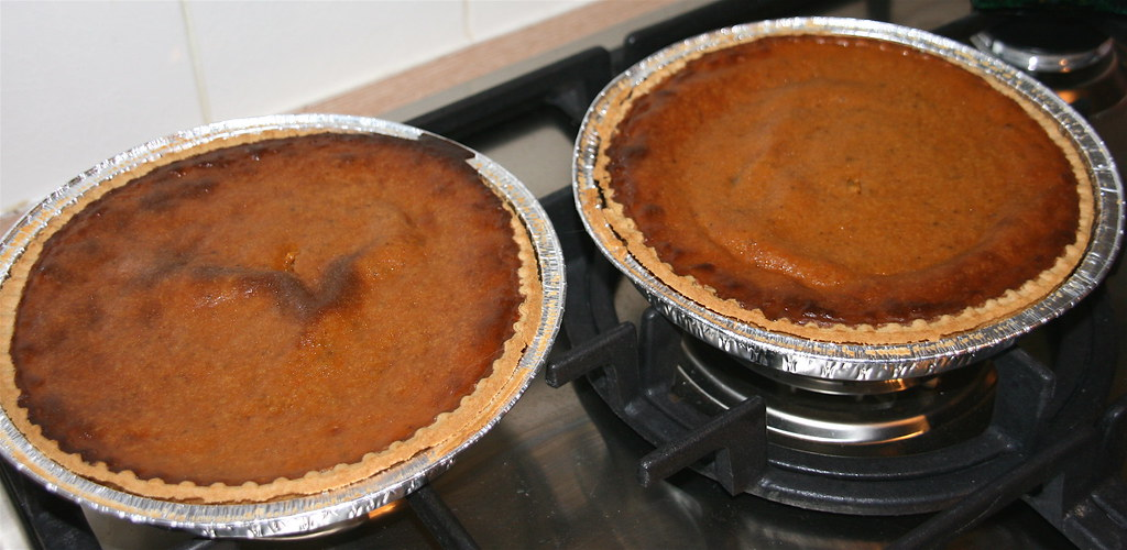 Pumpkin Pie Baked In A Chocolate Cake