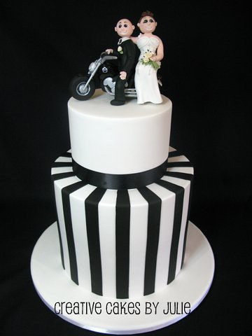 black and white harley davidson wedding cake by creative cakes by julie