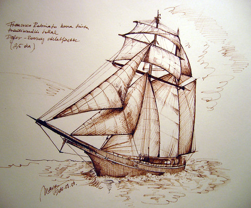 Pirate Ship Sketch With Brown Ink And Pen Onto