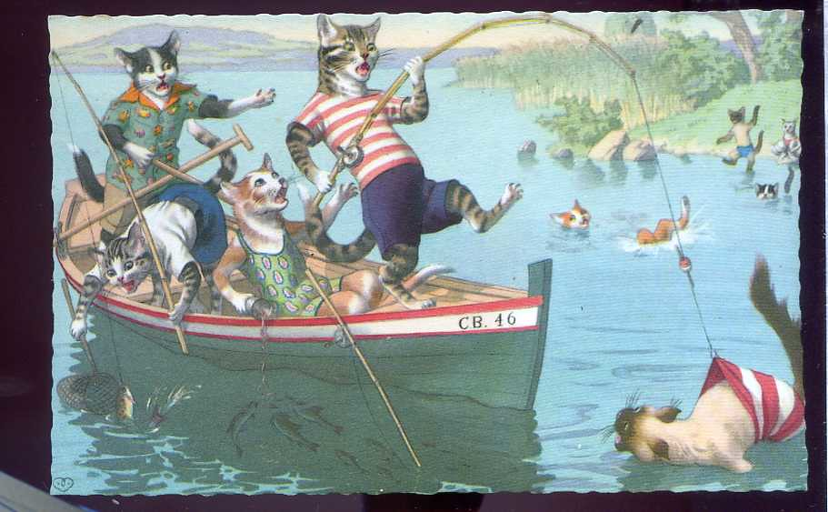 Alfred mainzer animated cats fishing on a boat san gayer for Moving fish for cats