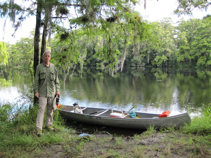 Me and our rental canoe, at the Burnt Bridge entryway to the Fisheating Creek Wildlife Management Area.