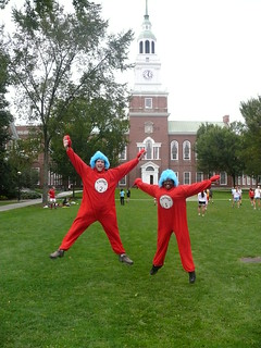 Thing 1 and Thing 2 welcomed the '14s to the library. | by Dartmouth College Library