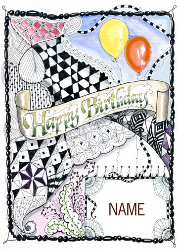 Zentangle Birthday Card I Put The Word Quot Name Quot There To