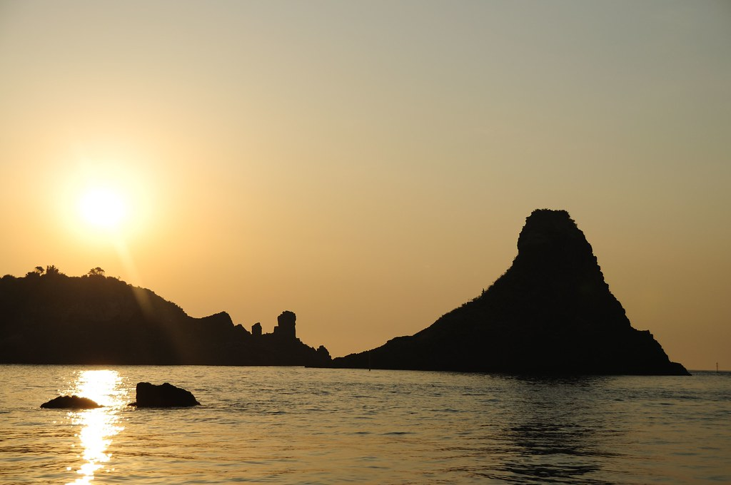 islands of the cyclops at dawn sicily italy