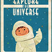 1960s NASA graphic illustration cartoon spaceman kids in space