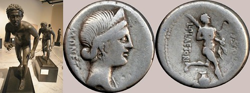 396/1 coin of Plaetoria athletes series, with two bronze athletes from the Villa of the Papyri Herculaneum | by Ahala