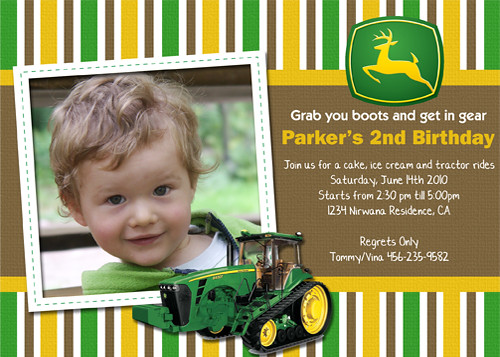 John Deere Tractor Custom Birthday Invitation Www
