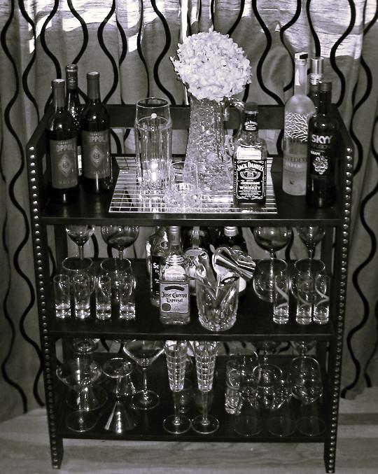 diy home mini bar black with studs crystal decanter flickr. Black Bedroom Furniture Sets. Home Design Ideas