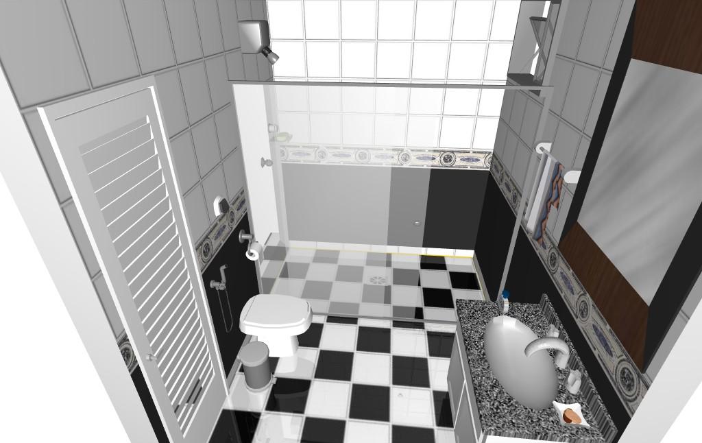decoracao banheiro pequeno preto e branco : decoracao banheiro pequeno preto e branco:Projeto Banheiro Preto e Branco f2