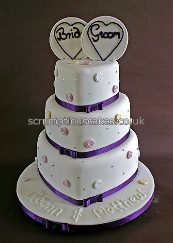 Wedding Cake (676) - Purple Love Heart Paula-Jane Bourke ...