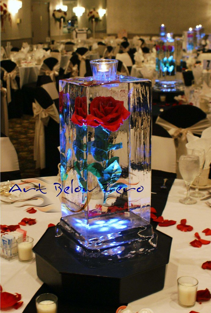 Rose cube centerpiece ice sculpture artbelowzero