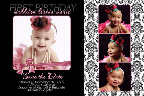 Damask 1st First Birthday Invitation Save the Date Card – Save the Date Cards Birthday