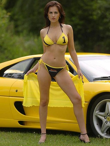 sexy girl ferrai 6 yellow ferrari 348 and sexy girl. Black Bedroom Furniture Sets. Home Design Ideas