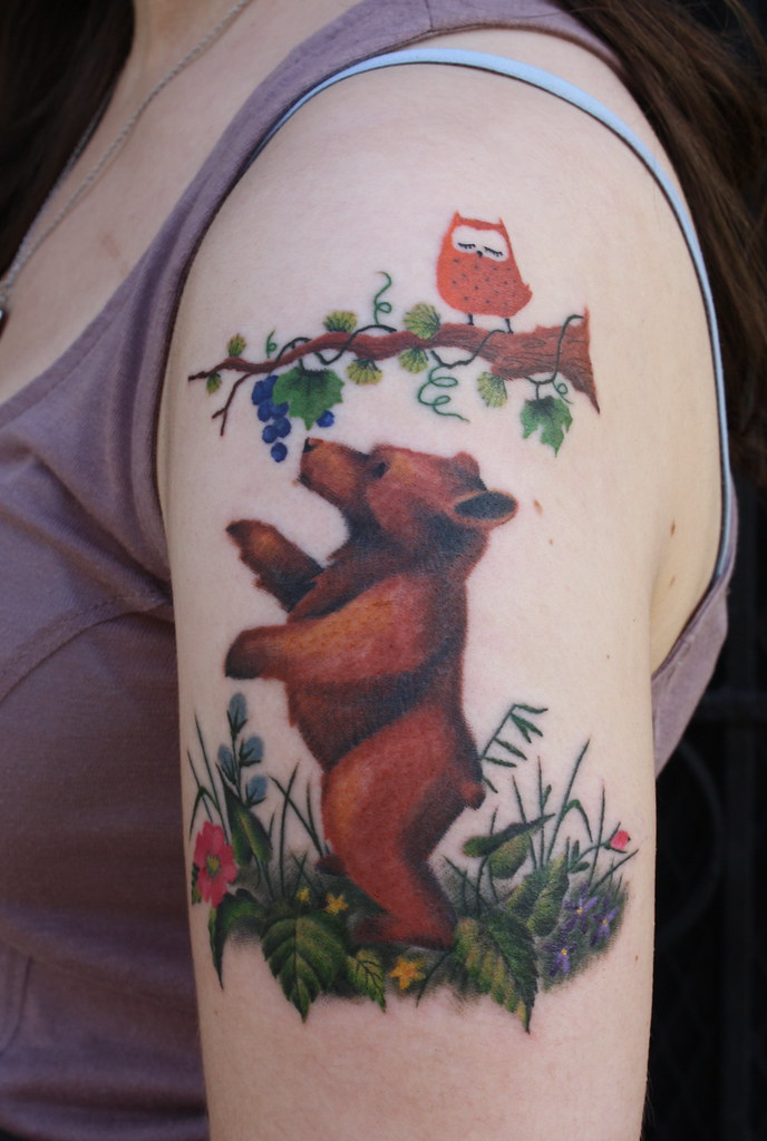 Bear cub first time tattoo client she was inspired by for Bear cub tattoo