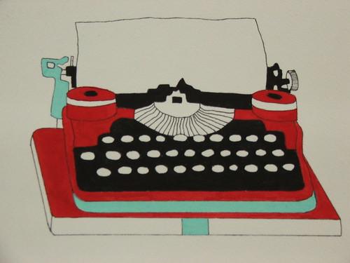 painting of typewriter