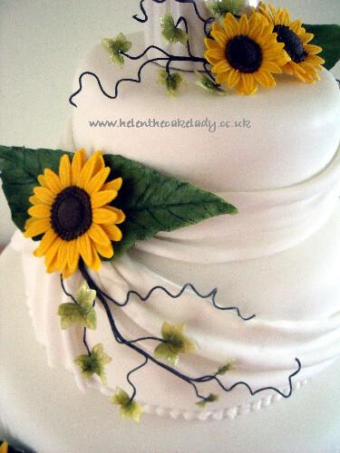 Sunflower 3 Tier Stacked Wedding Cake 6 Sunflower