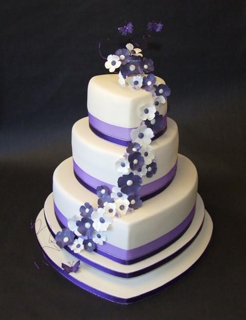 Purple Hearts Wedding Ivory & Purple Hea...