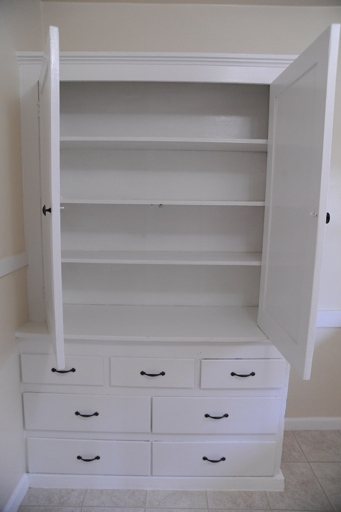 Built in white pantry empty drawers seattle washington Built in seattle
