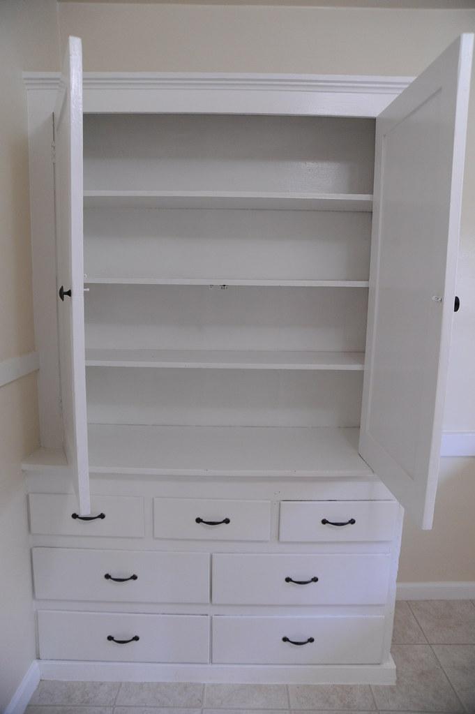 Built In White Pantry Empty Drawers Seattle Washington