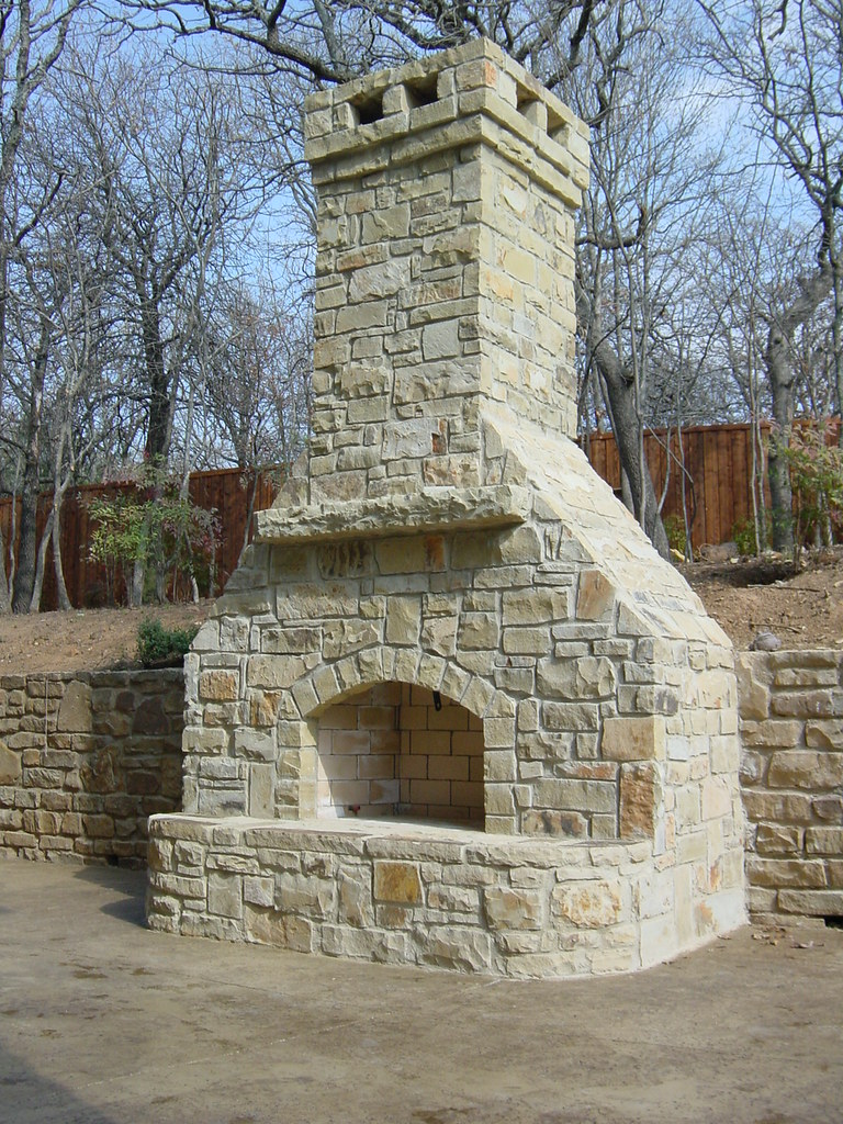 Outdoor Stone Fireplace Dallas Texas | This custom stone ...