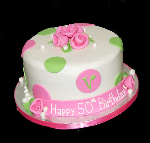 Pink And Green Polka Dot 50th Birthday Cake With Monogram